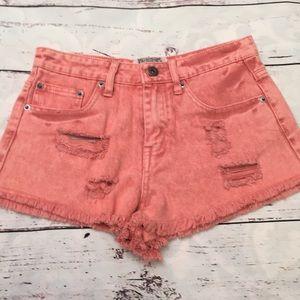 Pants - Washed coral jean shorts